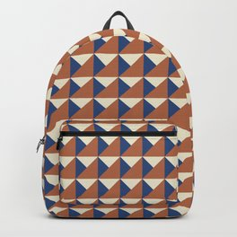 Rust + Blue Origami Geo Tile Backpack