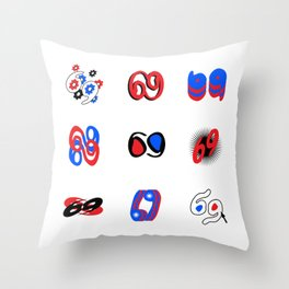 SIXTY-NINE 69 - Red Blue Black Position Balance Throw Pillow