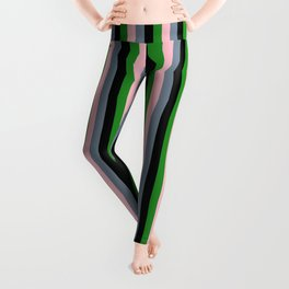 Light Slate Gray, Pink, Forest Green, and Black Colored Lines Pattern Leggings