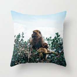 Macaque Mother and Daughter Throw Pillow