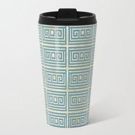 Vintage Blue Tile  Greek Meander Pattern Travel Mug