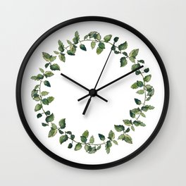 Herbal wreath of balm mint twigs, isolated on white. Watercolour illustration.  Wall Clock