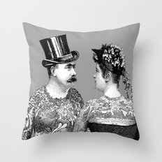 Tattooed Victorian Lovers Throw Pillow