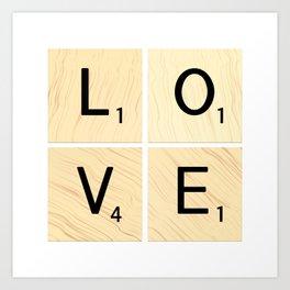 LOVE - Scrabble Letter Tiles Art Art Print