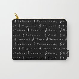 Classical Music Composers, pattern, black bg Carry-All Pouch