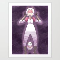 puppycat Art Prints featuring Bee and Puppycat by timehwimeh