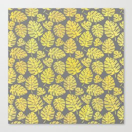 Leaves in Yellow and Grey Pattern Canvas Print