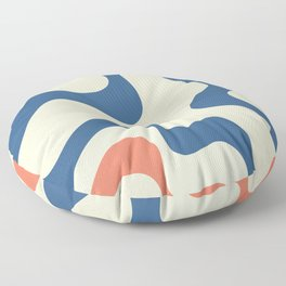 Retro 70s and 80s Color Mid-Century Minimalist Stripes Ribbons Abstract Art Floor Pillow