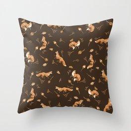Foxes pattern Throw Pillow