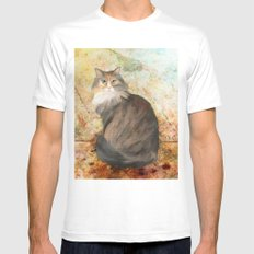 Maine coon cat Mens Fitted Tee White MEDIUM