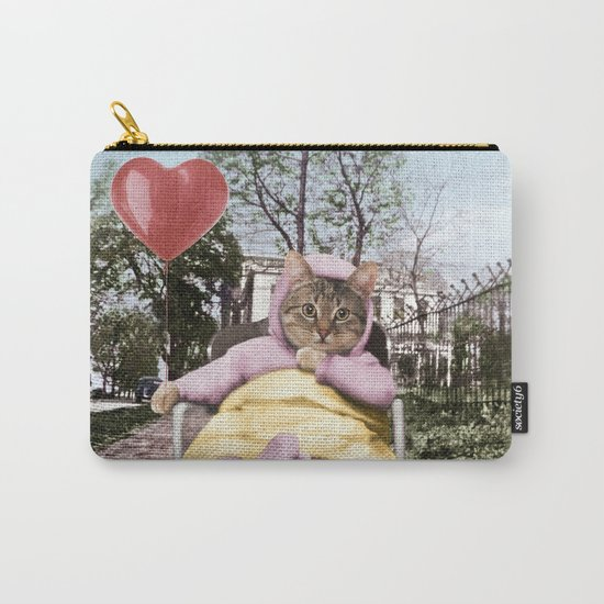 Pretty little Kitty with a heart balloon Carry-All Pouch