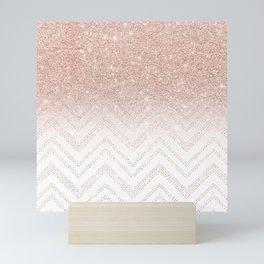 Modern faux rose gold glitter ombre modern chevron stitches pattern Mini Art Print
