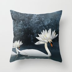 Tribal Swans Throw Pillow