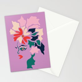 Face in Florals Stationery Cards