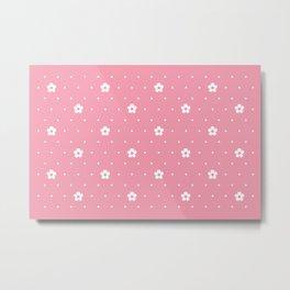 Delicate Pink Flower Pattern Metal Print