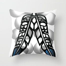 Heiltsuk Eagle & Raven Feathers Throw Pillow