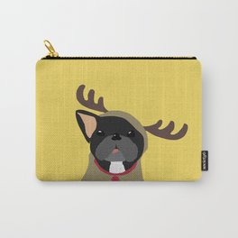 Black Frenchie in Reindeer Costume  Carry-All Pouch