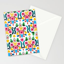 Colorful oriental watercolor floral pattern. Stationery Cards