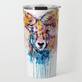 Bighorn Sheep Portrait Travel Mug