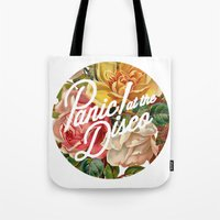 panic at the disco Tote Bags featuring Panic! at the disco round vintage flowers by Van de nacht