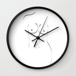 Curvy Figure Black on White Wall Clock