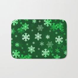 Dark Green Snowflakes Bath Mat