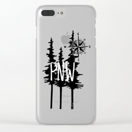 PNW Trees & Compass Clear iPhone Case