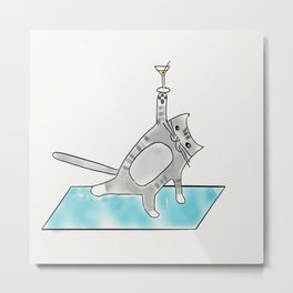 Halfmoon yoga pose Kitty cat with martini Metal Print
