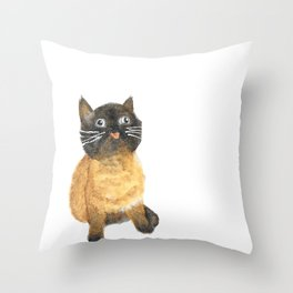 Siamese Blep Cat Watercolor Throw Pillow