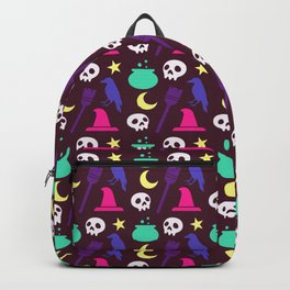 Happy halloween witch hats, crows, brooms, skulls and moons pattern Backpack