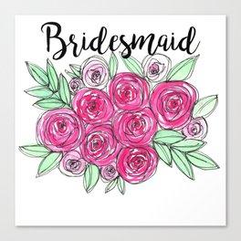 Bridesmaid Wedding Pink Roses Watercolor Canvas Print