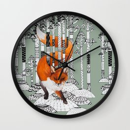Fox Forest Wall Clock