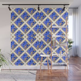 ABSTRACTED BLUE & GOLD PATTERN  CALLA LILIES  DESIGN Wall Mural