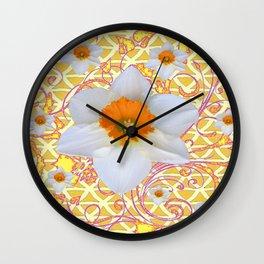 WHITE DAFFODILS DELICATE VIOLET SCROLLS ART  PATTERN Wall Clock