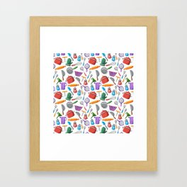 Cooking Pattern Framed Art Print