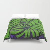 lime green Duvet Covers featuring Lime Green Flock by Sarah J Bierman
