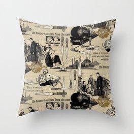 Murder on the Orient Express (Agatha Christie) Toile de Jouy Throw Pillow