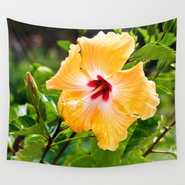 Yellow and Red Hibiscus Wall Tapestry