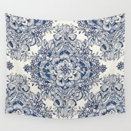 Floral Diamond Doodle in Dark Blue and Cream Wall Tapestry