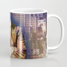 New York Man Seated City Background 1 Coffee Mug