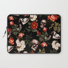 Floral and Skull Dark Pattern Laptop Sleeve