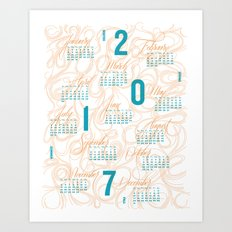 2017 Typographic and Lettering Calendar Orange/Blue Art Print