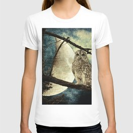 Barred Owl Bird Night Moon Blue Tans Country Art A137 T-shirt