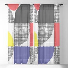Textured Mid-century Circles No.1 Sheer Curtain