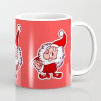 gnome Mugs featuring Christmas gnome by Yavi