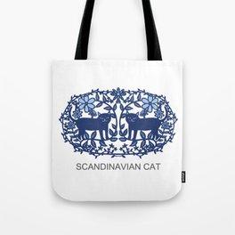Scandinavian Cat blue Tote Bag