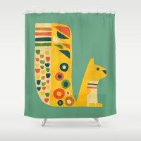 squirrel Shower Curtains featuring Century Squirrel by Picomodi