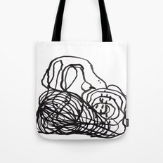 Paint 2 abstract black and white minimal brushstroke japanese modern home decor dorm college  Tote Bag