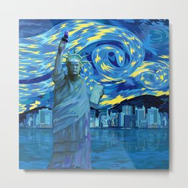 Liberty Parody starry night iPhone 4 5 6 7, ipod, ipad, pillow case and tshirt Metal Print