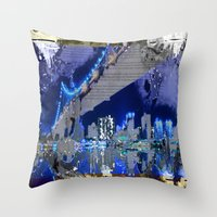 brooklyn bridge Throw Pillows featuring Brooklyn Bridge by Robin Curtiss